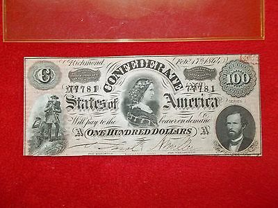 1864 Confederate States of America Pink, Blue Back ---  No Reserve!
