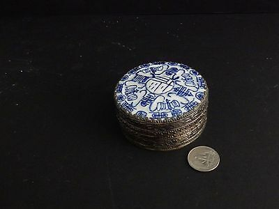 "Vintage Chinese Shard Box Metal & Porcelain 3"" Round Trinket Jewelry Snuff Can"
