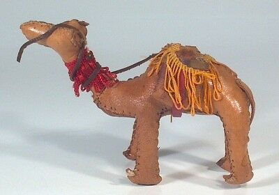 "Traditional Morroccan Leather Camel 4"" Figurine Saddlebags And Tassels Souvenir"