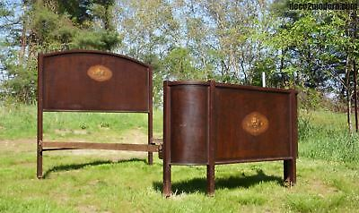 Antique Art Deco Faux Grain & Floral Painted Metal & Iron Double Full Bed