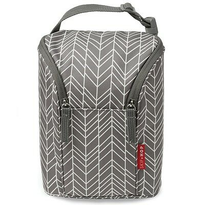 Skip Hop Double bottle Bag Grey Feather   Carry 2 Bottles or Food Containers