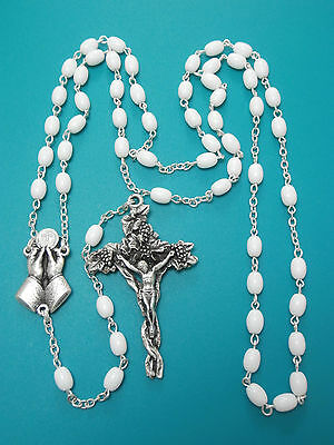Silver White GHIRELLI ROSARY BEADS Catholic Gifts Baptism Communion Divine Mercy