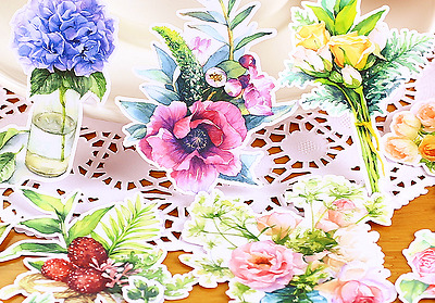 15 piece Flowers Blossom Bouquet Rose Lily sticker lot Pack