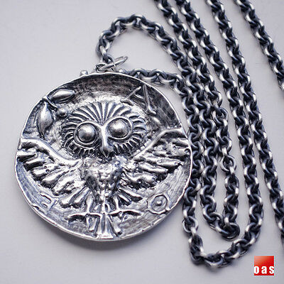 SILVER Cast of GREEK ATHENA'S OWL COIN NECKLACE W/Chain Options