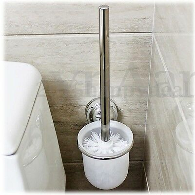 Stainless Steel Round Wall Mounted Toilet Brush + Frosted Glass Holder Rack