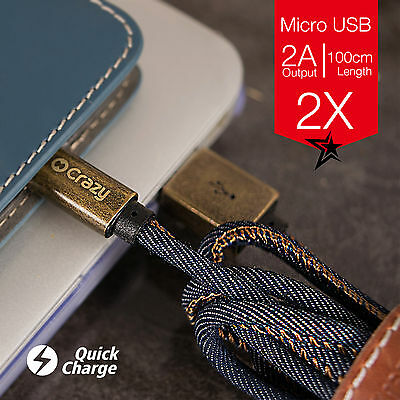 2 X Crazy Micro USB Charger Cable For Android Samsung Galaxy S7 Edge