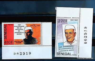 JAWAHARLAL NEHRU  TIMBRE SENEGAL série complete LUXE ** Yt 830/1  88M472