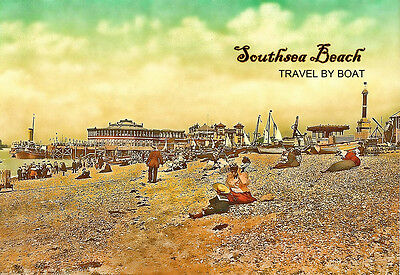 Art Ad Southsea Beach Travel by Boat Travel   Poster Print