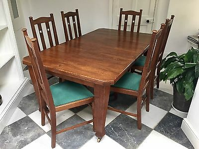 Antique Oak Arts and Crafts Extending Dining Table and Six Chairs