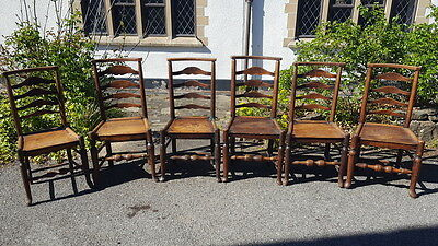 Stunning Set of Old Antique Handmade Bespoke Solid Oak Rustic Chairs Circa 1780