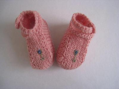 Baby Booties/shoes Pink wool handknit  Ankle strap Gift Present Shower girl