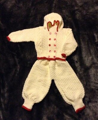 Unisex Hand Knitted Retro Style Baby Pram Suit Age 6-12 Months