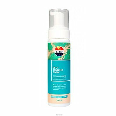 LE TAN Self Tanning Foam Coconut Water Intensely Hydrating 200ml FULL SIZE