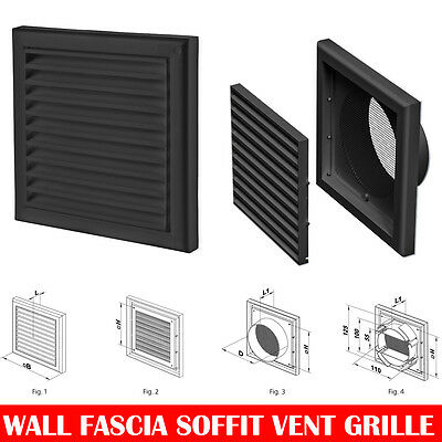 "Black Extractor Fan Wall Fixed Louvre Grill Grille  Ventilation 4"" , 5"" , 6"""