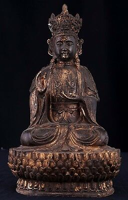 Very Large Superb Rare Old Chinese Bronze Buddha Seated Statue Sculpture AB046