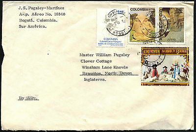 Colombia 1980's Commercial Airmail Cover To UK #C40593