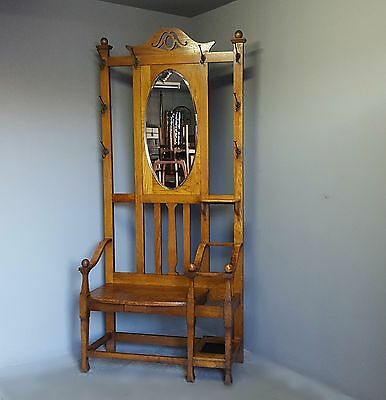 Antique Oak Hall Coat-Hat-Umbrella and Seat Entrance Stand - Great Condition
