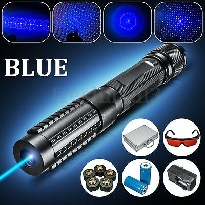 445nm Focus Blue Light Laser Pen Power Beam 5 Caps + Box+ Charger +Goggles 0.5MW