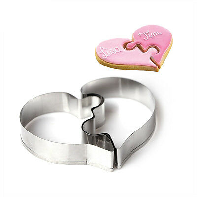 2Pcs Heart Puzzle Cookie Cutter Mould Baking Tool Stainless Steel Biscuits Mold