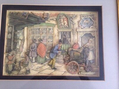 Anton Pieck Decoupage Candy Store/ Bakers. Framed Picture