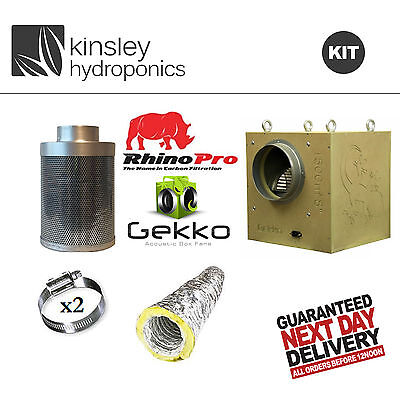 Gekko Box Fan - Rhino Pro Filter - Acoustic Ducting - Hydroponic Extraction Kit