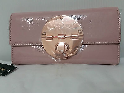 Mimco Leather Large Turnlock Clutch Purse Wallet BNWT Pink Rose Gold