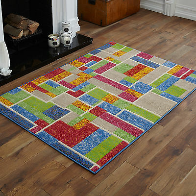 Small Medium Modern Green Red Blue Yellow  Multi Color Rug Best Design Area Rugs