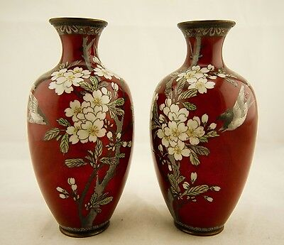 Pair of Meiji Japanese Cloisonne silver wire blossom tree & flying bird vases