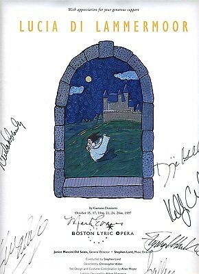 Boston Lyric Opera Poster Signed By Cast Lucia De Lammermour