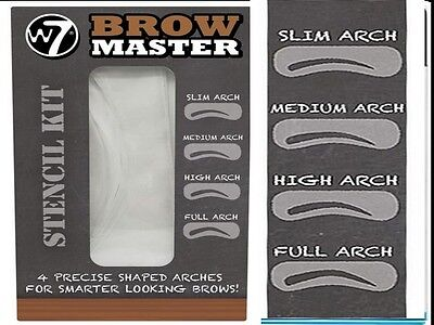 W7 Brow Master Stencil Kit  4 Precise Shaped Arches For Smarter Looking Brows