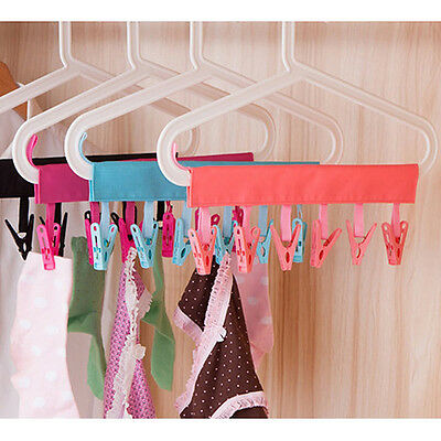 Home PP 6Clips Rack Clothes Socks Shirts Folding Hanging Laundry Drying Hanger