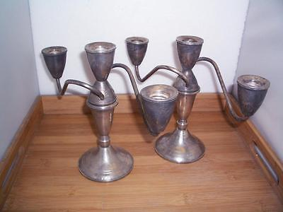 Vintage Pair of Duchin Weighted Convertible Sterling Silver 3 Light Candelabras