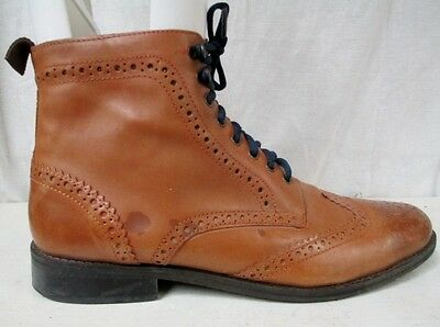 Mens HAWKINGS MCGILL Leather WINGTIP Chukka ANKLE BOOTS Shoes 11 BROWN