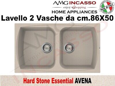 LAVELLO FRAGRANITE Incasso Cucina HS Essential cm.86X50 2 Vasche ...