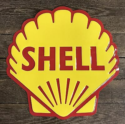 "SHELL Gasoline ~ Motor Oil Vintage 24"" Seashell Embossed Tin Metal Sign"