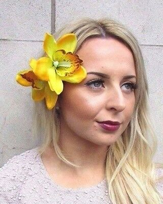 Double Yellow Orchid Flower Hair Clip Rockabilly 1950s Fascinator Lily Vtg 3003