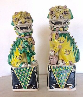 "ANTIQUE VINTAGE CLASSIC YELLOW CHINESE FOO FU DOGS on PEDESTALS backwards ""N"""