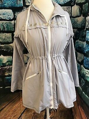 A Pea in the Pod Maternity Gray Long Sleeve Zip Up Hooded Jacket Size Small