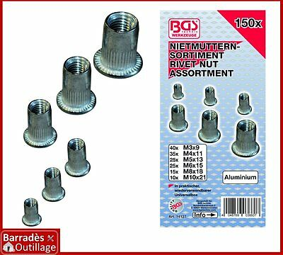 ### Assortiment de 150 insert rivet fileté ecrou aluminium - M3 à M10 ###