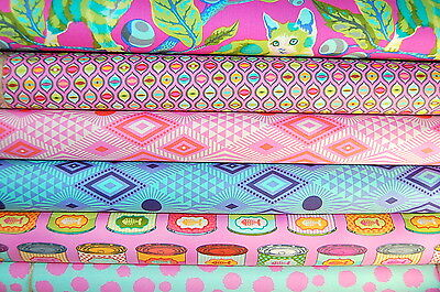 Tula Pink for Free Spirit Tabby Road Pink/Blue 100% Cotton Fabric FQ/M (4FQ)