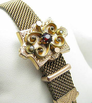 Antique Victorian Gold Filled Mesh Red Stone & Seed Pearl Slide Tassel Bracelet