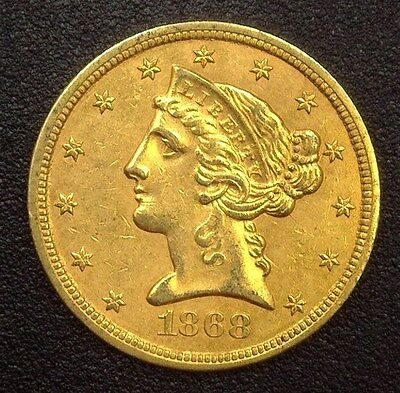 1868-S Liberty Head $5 Gold Half Eagle  Uncirculated+ Very Rare This Nice!