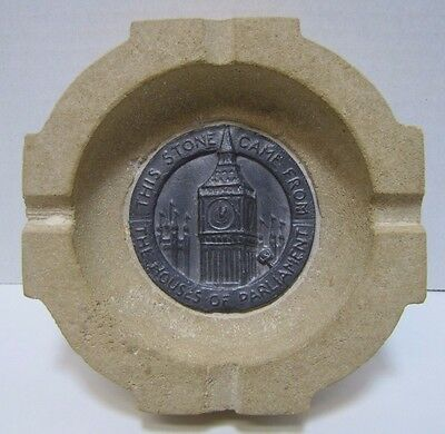 Old HOUSES OF PARLIAMENT LONDON Stone Ashtray from orig building WW2 Bombing