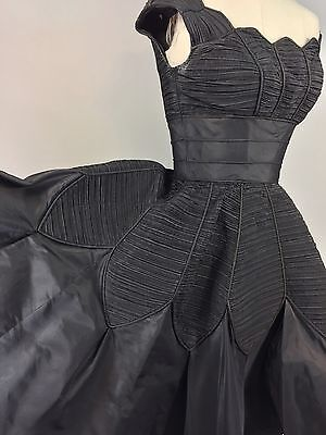 Vintage Rare Iconic 1950s Black Ceil Chapman Cocktail Dress 34 Bust
