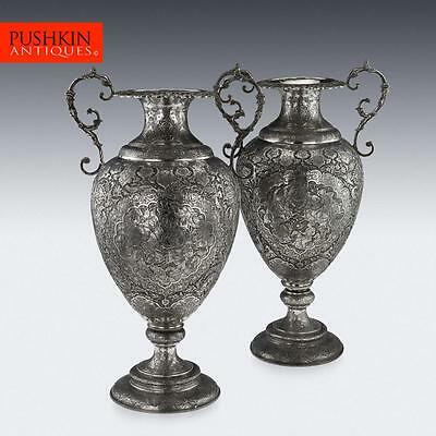 ANTIQUE 20thC PERSIAN SOLID SILVER MASSIVE PAIR OF VASES, ISFAHAN c.1900
