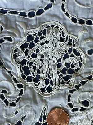 Vintage CUTTER oval centerpiece nice FIGURAL MUSICIANS needle lace inserts