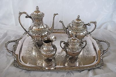 Rogers Bros 1847 Silverplate HERITAGE Coffee Pot Set 5 pc  teapot Tray 9401 9492