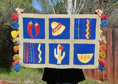 Handwoven Colorful Unique Textile With Applique And Fringe - Southwest - Chilis