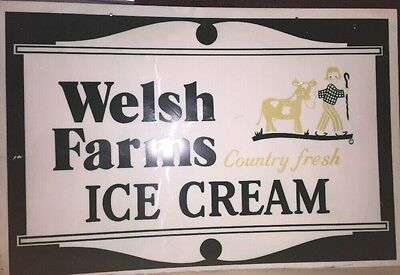 Plastic Welsh Farms Country Fresh Ice Cream Advertising Sign 30 X 20