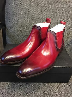 NEW CARRUCCI Men's Red Dress Leather Ankle Boots Pull-On Chelsea Size 9